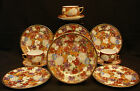 MARKED Kutani JAPANESE MEIJI THOUSAND FLOWER EGG SHELL TEA CUP SAUCER /PLATE SET