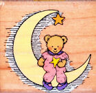 Hero Arts LITTLE MISS MOON BEAR C 590 Wood Mounted Rubber Stamp 1 5 8 X 1 3 8