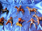 Pre WW2 9 Pc Lead Hollowcat Plastic INDIANS COWBOY MOUNTY UK USA Germany Japan