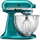 New KitchenAid Cristal Marino Green Tilt Stand Mixer 5 qt Glass Bowl KSM155GBSA