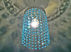 VINTAGE STYLE CHANDELIER PENDANT LIGHT TEAL GLASS DROPLETS RETRO DROPS KITSCH BN