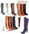 Womens Round Toe High Heel Platform Mid Calf Knee High Boots Shoes Size 5 11