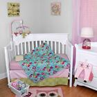 Floral and Pink Infant Baby Flowers Girls Nursery 4 Piece Crib Bedding Set