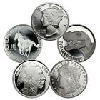 Grab Bag of 5 Different 1 Troy Oz .999 Fine Silver Rounds SKU32252