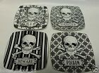 222 FIFTH HALLOWEEN SKULLS SET OF (4) 6 INCH PLATES BRAND NEW! Snack Appetizer