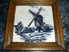 VINTAGE~FRAMED DUTCH WINDMILL TILE~MK'D HOLLAND MOSA~BLUE & WHITE~7 1/2