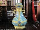 Regiue Palace 100% Pure bronze Cloisonne 24K Gold Eight treasures Pot Crock Vase