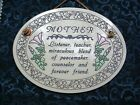 Trinity Pottery Made in the USA CERAMIC WALL PLAQUE MOTHER mom Dedication Motto