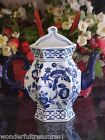 Delft Style COBALT Blue White PANELED Tea Coffee Pot WALL POCKET URN Vase NEW!