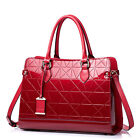 Real Genuine Patent Leather Purse Satchel Hand Bag Tote Lattice Embossed Shiny