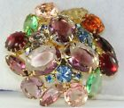 VINTAGE JULIANA MULTI COLORED COLOR POURED GLASS  RHINESTONE PIN