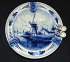 Vtg Delft Handpainted Round Ashtray/Dish, Windmill, Wooden Shoes, Holland (1873)