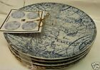 222 FIFTH DUE NORTH BLUE SET OF 4 PLATES Dessert Cake Appetizer Snack BRAND NEW!
