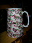 Large Crown B Burslem Staffordshire England / Pink~Green Floral Chintz Pitcher