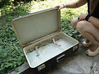 Vintage old rare antique travel very huge suitcase, train, autobus 1967 years