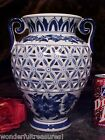 NEW Double Handle Footed Porcelain COBALT Blue White Vase RETICULATED (CUT OUT)