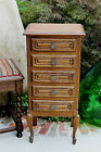 Antique French Petite Oak Louis XV Style Chest Cabinet End Table Nightstand