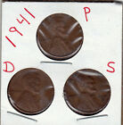 1941 P,D,and S Lincoln cents in VERY GOOD AND BETTER condition (3 coins )stk9