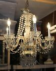 Vintage Glass Shabby Chandelier - bobeche cups - Lots of Prisms - 6 glass arms