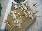 Large Pair Vintage Solid Brass Victorian Wall Holders Candle or Lamp Sconce