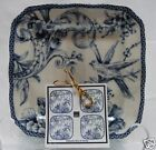 222 FIFTH ADELAIDE BLUE SET OF 4 PLATES Toile Birds ~ SNACK APPETIZER CAKE