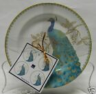 222 FIFTH PEACOCK GARDEN SET OF 4 APPETIZER PLATES SAUCER CAKE BRAND NEW