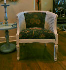 NICE! OLD VINTAGE FRENCH LOUIS XV CHIC PAINTED WHITE CANE BLUE FABRIC CLUB CHAIR