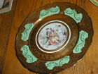 Vintage Bohemia Ceramics 24kt Gold Hand Painted Plate-4 Ladies Wine Garland
