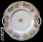 Antique Lovely Roses Cake Plate Probably German Two Handled Perfect Condition!