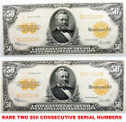TWO $50 1922 GOLD CERTIFICATES LARGE NOTES RARE CONSECUTIVE SERIAL #  FR 1200 AU