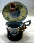 Vintage Wooden Cup & Saucer Display Stand Holder w/CUP and SAUCER  Made In Japan