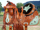 New 15 Western Brown Barrel Racing Saddle Horse Leather Tack Texas Star Show