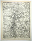 Original 1928 Illinois Central Railroad System Map. RR Railway