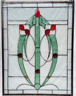 Art Nouveau Clear Textured and Colored Glass Oval Floral Design Window