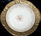 Antique Taylor Smith Hand Painted Basket of Pink/White Roses w/ 22K gold trim