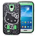 Green Cute Hello Kitty Shockproof PC Box Case Cover For Samsung Galaxy S4 I9500