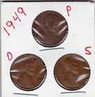 1949 P,D,and S Lincoln cents in VERY GOOD AND BETTER  condition (3 coins )stk9