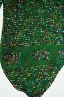 "ANTIQUE VINTAGE 1920S RICH GREEN BEADED ""CONFETTI"" PURSE BAG WITH BUTTERFLIES"