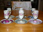 TEA COFFEE CUP SAUCER DAINTY TALL VICTORIAN COUPLE LUSTER PEARL PORCELAIN 6 SETS
