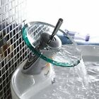 Glass Finish Chrome Waterfall Bathroom Basin Mixer Tap Faucet Sink Vessel