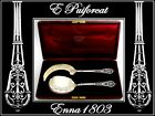 PUIFORCAT French All Sterling Silver Vermeil Ice Cream Set 2 pc w/box Fantasy