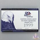 1999 S State Quarter Proof Set Gem DCam Original Box & COA 5 Coins CN-Clad