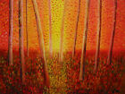 The Red Forest - charming italian signed original oil painting - Italy