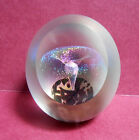 Signed Eickholt Iridescent Fountain Egg Shaped Paperweight 1992 W / Viewing Pane