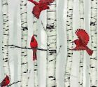 Cotton Woodsy Winter Cardinals Red Birds Birch Trees Cotton Fabric Print D776.33