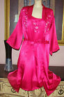 VTG PINK EXTREMELY SILKY SATIN NIGHTGOWN AND PEIGNOIR ROBE SET M BUST 38/40