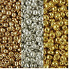 Metallic coated Glass Seed Beads 40g Gold Silver Copper bronze