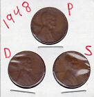 1948 P,D,and S Lincoln cents in VERY GOOD AND BETTER  condition (3 coins )stk1