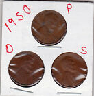 1950 P,D,and S Lincoln cents in FINE AND BETTER  condition (3 coins )stkC