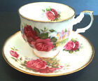 Romantic Queens Rosina Cottage and Roses Teacup & Saucer English Fine Bone China